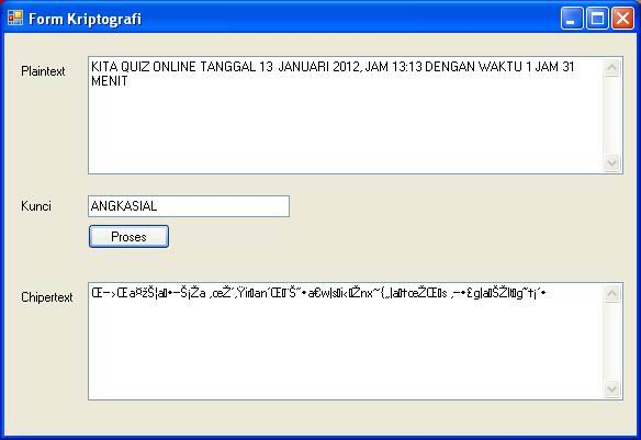 Program Kriptografi Vigenere Dengan Visual Basic dot NET 2008