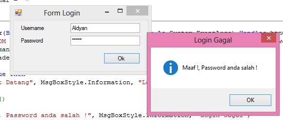 Program Form Login Ke Aplikasi Menggunakan Username dan Password Di Database Menggunakan VB Net