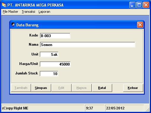 Download Contoh Program Sistem Informasi Penjualan