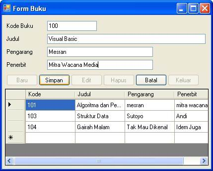 Program Visual Basic Net Simpan Edit Hapus Record Pada Database Access